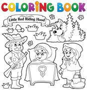 Coloring book fairy tale theme 1 - stock illustration