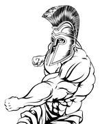 Punching gladiator mascot - stock illustration