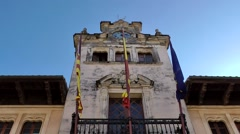 Spain Mallorca Island Alcudia 022 splendid town hall tower against blue sky Stock Footage