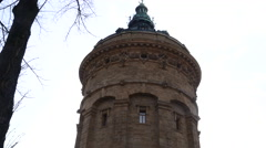 water Tower Mannheim close up pan from top to buttom - stock footage