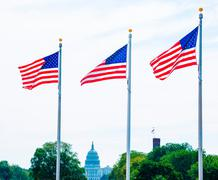 Stock Photo of Washington Monument flags and Capitol DC USA