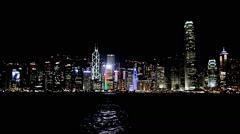 View gradually zooming in of coast of city of Hong Kong establishing shot Stock Footage