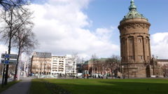 Water Tower Mannheim with pan to right Stock Footage