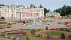 Kadriorg palace with garden in Estonia, editorial Stock Footage
