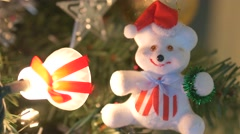 4K Christmas Decoration and Ornaments On Tree Stock Footage