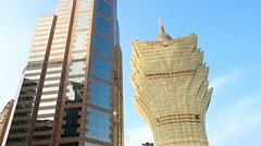 buildings of Bank of China with Grand Lisboa in Macao, - stock footage