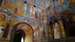 Interior of the temple in Rostov Veliky - Golden Ring of Russia Stock Footage