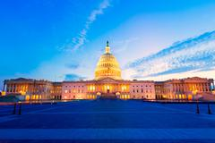 Stock Photo of Capitol building Washington DC sunset US congress