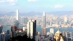 Hong Kong skyline and harbor from Victoria Peak Stock Footage