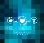 Exercise, healthy diet and Cardiovascular Health Recommendations Stock Illustration