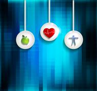 Exercise, healthy diet and Cardiovascular Health Stock Illustration