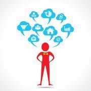 Man thinking about social media vector Stock Illustration