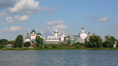 Kremlin in Rostov the Great, Russia, view from the Nero lake Stock Footage