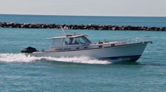 Cabin Cruiser Coming in on Government Cut Stock Footage