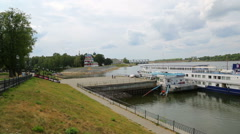 Passenger cruise ship at the pier in Uglich on the Volga River in Russia Stock Footage
