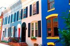 Georgetown historical district facades Washington - stock photo