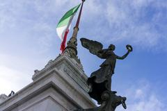 Statues in Victor Emmanuel II Monument - stock photo