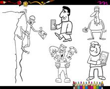 Stock Illustration of people and technology coloring page
