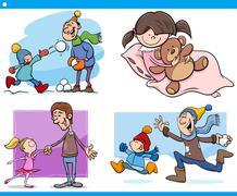 Childhood cartoon set Stock Illustration