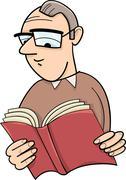 reader with book cartoon illustration - stock illustration