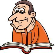 Stock Illustration of reader man cartoon illustration