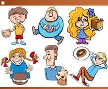 Kids and sweets set cartoon Stock Illustration