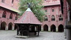 Left pan of the courtyard of Upper Castle - The Well Stock Footage