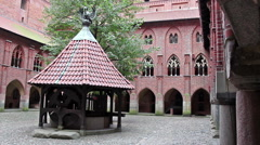 Left pan of the courtyard of Upper Castle - The Well 2 Stock Footage