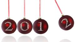 Stock Photo of 2012 at Newton's Cradle Christmas ball