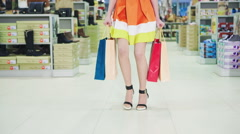 Girl with shopping store worry - stock footage