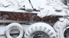 Snow covered tires Stock Footage