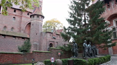 Right pan of medieval fortress - Statues of the Teutonic Grand Masters - stock footage