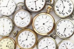 Various Antique pocket watches on white Stock Photos