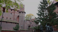 Right pan of medieval fortress - Statues of the Teutonic Grand Masters 2 - stock footage