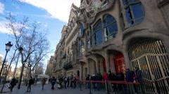 Gaudí Casa Batlló  Passeig de Gràcia Stock Footage
