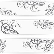 Website header or banner set with beautiful floral design - stock illustration