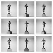 collage of the nine gold oscars on the white background - stock photo