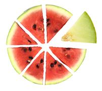 Pie chart of watermelon slices Stock Photos