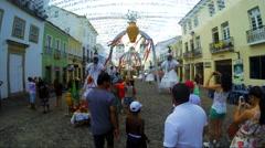 Special Decoration of Baianas for Bahia Carnaval in Pelourinho Stock Footage