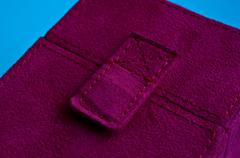 clasp on a purple suede box - stock photo