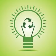 Green recycle icon make filament of an eco bulb stock vector - stock illustration