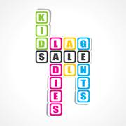 Sale for ladies ,gents and kids sticker -vector illustration - stock illustration