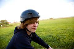 young boy with mountain bike on tour - stock photo