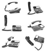 Collection of office phones with the handset - stock photo