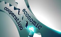 Economic Cooperation on Metal Gears Stock Illustration