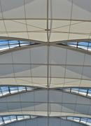 vaulted ceiling of the high-tech at Munich Airport - stock photo