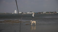 The Poor Man And The Dog Ebb Old Man And The Sea - stock footage