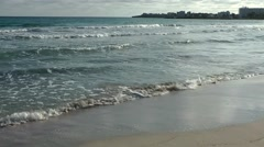 Spain Mallorca Island small town Sa Coma 007 water with white crest over beach - stock footage