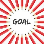 Goal word with pencil background stock vector - stock illustration