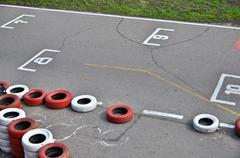 start grid on an open racetrack - stock photo